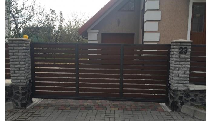 Откатные ворота с ламелей